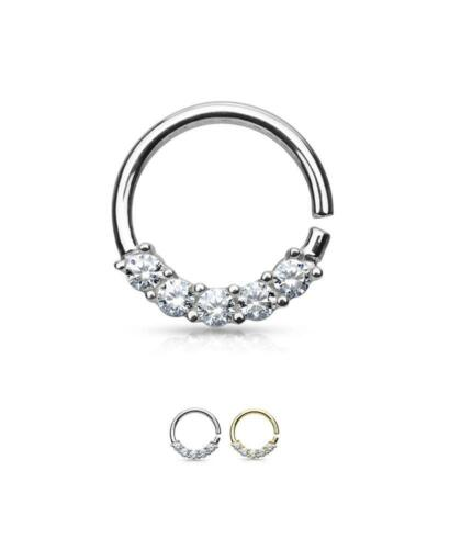 """14K Solid White or Yellow Gold Continuous Annealed Nose Ring Hoop 3//8/"""" 16G"""
