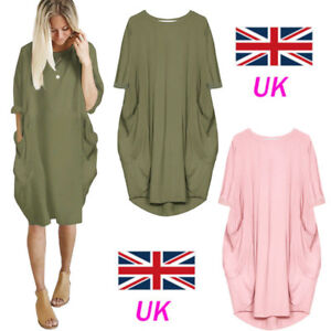 New-Italian-Lagenlook-Quirky-Boho-Jersey-Cotton-Baggy-Pocket-Tunic-Casual-Dress