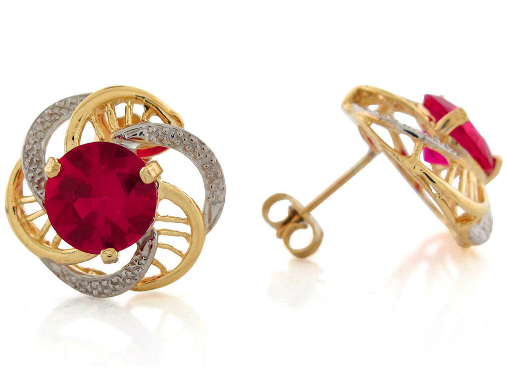 10k or 14k Two-Tone gold Simulated Ruby July Birthstone Earrings