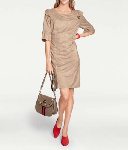 Robe De Heine CREATEUR cuir velours imintat sable beige T 38 40 42 44