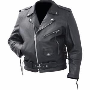 Blouson-style-perfecto-en-cuir-vachette-veritable-M-a-3XL-biker-custom