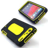 Motorola DROID RAZR Rubber IMPACT Duo Shield Hard Case Phone Cover Black Yellow