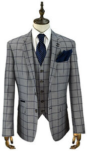 Cavani Macy Mens New 3 Piece Suits Check Tweed  Look Slim Fit Suit Navy & Grey