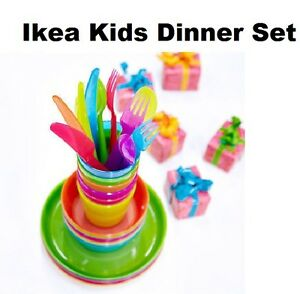 IKEA-Kalas-Children-039-s-For-Kids-Plastic-Plate-Cups-Bowls-and-Cutlery-Set-By-IKEA