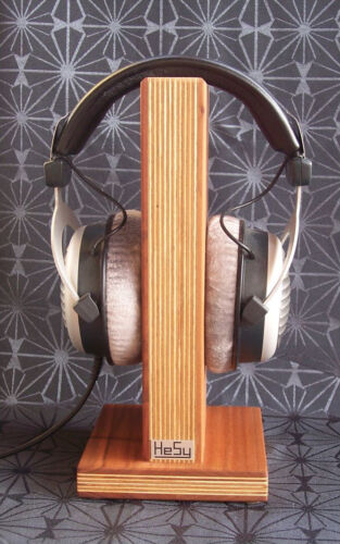 HeSy Headphone Stand Holder handmade from birch plywood with solid cherry wood