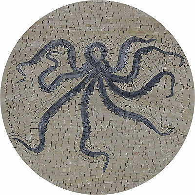 Abstract Greyish Octopus Round Mural Bathroom Decor Marble Mosaic AN1230