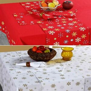Cotton Christmas Tablecloth Xmas Red Gold Snowflakes Tableware Cover Ebay