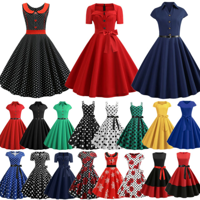 New Polka Dot Rockabilly Vintage Cocktail Party Evening Prom Dress Size 8-24