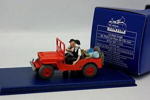En-Voiture-Tintin-1-43-Jeep-Willys-Pays-de-l-039-Or-Noir-Dupond