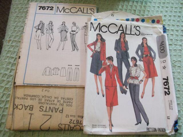 1981 McCall's 7672 sz 12 wardrobe pattern skirt jacket pants top  uncut complete