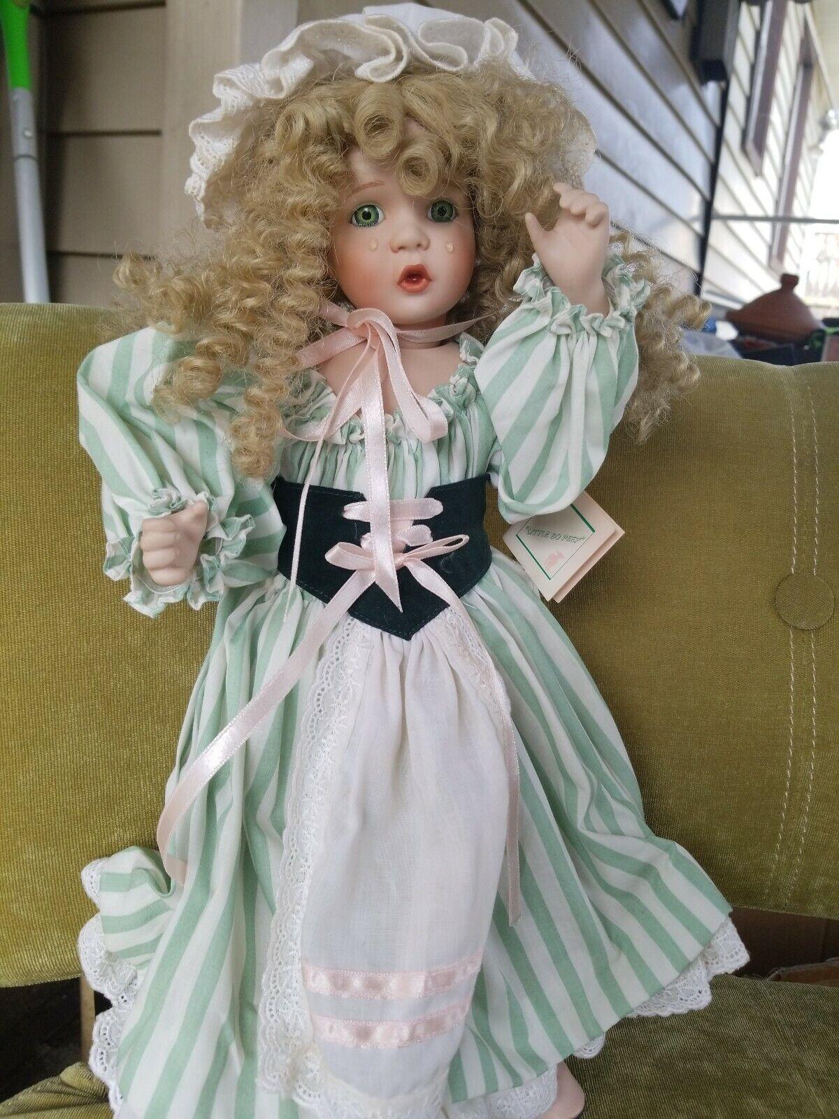 Senza tasse Wendy Lawton Porcelain bambola bambola bambola 16  Blonde Curl hair verde Eyes Crying Tears w ste  l'ultimo
