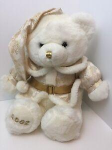 White-Bear-Holiday-Plush-2002-Gold-Dress-and-Belt-Dan-Dee