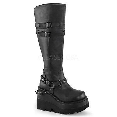 "DEMONIA SHA101/BVL Womens 4.5"" Platform Black Buckle Stud Strap Goth Knee Boots"