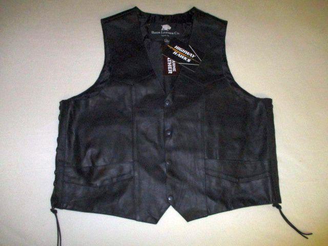 Bison Leder Co. NWT  Herren 4XL Genuine Leder Vest Western Style Biker Cowboy