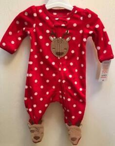 NWT Carters FLEECE Footed SLEEPER Sleep/&Play Baby Girl HOLIDAY Red Reindeer Dots