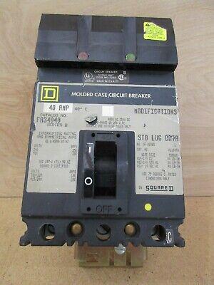 Square D FH36040 Circuit Breaker 40 Amp 3 Pole I-Line 600 VAC 250 VDC Type FA