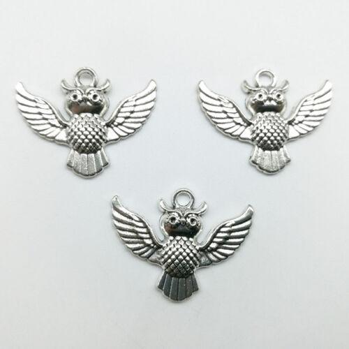 6//20pcs Cute Owl Tibet Silver Charms Pendants DIY Jewelry Accessories 23*30mm