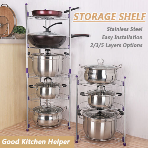 2//3//5 Tier Pan And Pot Lid Organizer Rack Holder Stainless Steel Kitchen Storage