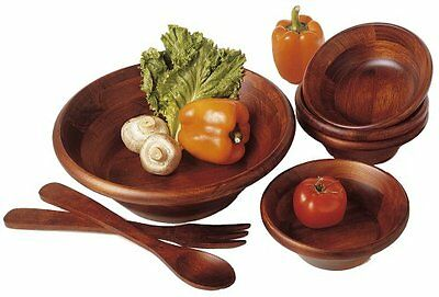 Wood Salad Bowls 7pc Set Vintage Wooden Bamboo Cherry w/ Serving Ware Fork Spoon