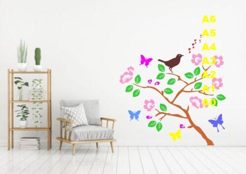 Singing Bird In The Trees Stencil 350 micron Mylar not thin stuff#Bird050
