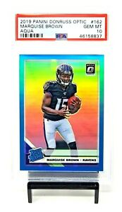 2019-Optic-AQUA-REFRACTOR-Ravens-MARQUISE-BROWN-Rookie-Card-299-PSA-10-Pop-1
