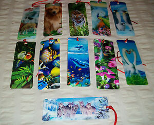 Bookmark-3d-Dolphins-Wolves-Tiger-Penguin-Dog-11-Different-Designs-Superb