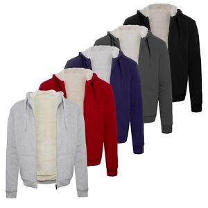 Mens-Fleece-Fur-Bomber-Hooded-Jacket-Coat-Zip-Up-Hoodie-Sweatshirt
