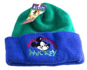 Micky Mouse Aqvila Green and Blue Acrylic Beanie Hat