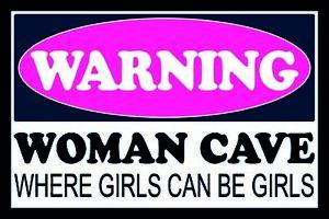 Attention-Femme-Cave-Girls-Panneau-Metallique-Plaque-Voute-en-Etain-20-X-30-CM