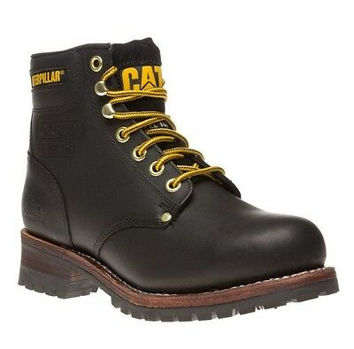 """Caterpillar Sequoia ST 6"""" Mens Steel Toe Lace Black Leather Boots"""