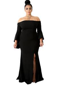 6b51fb61ab Details about XL-4XL Women Plus Size Off Shoulder Party Cocktail Evening  Maxi Dress Side Slit