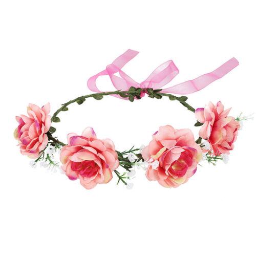 Haarband Blumen Haarreif geflochten Rosen Trachten Stirnband Boheme Wiesn Blüten