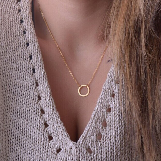 Womens Simple Clavicle Necklace Chain Round Charm Circle Pendant Jewelry Gift
