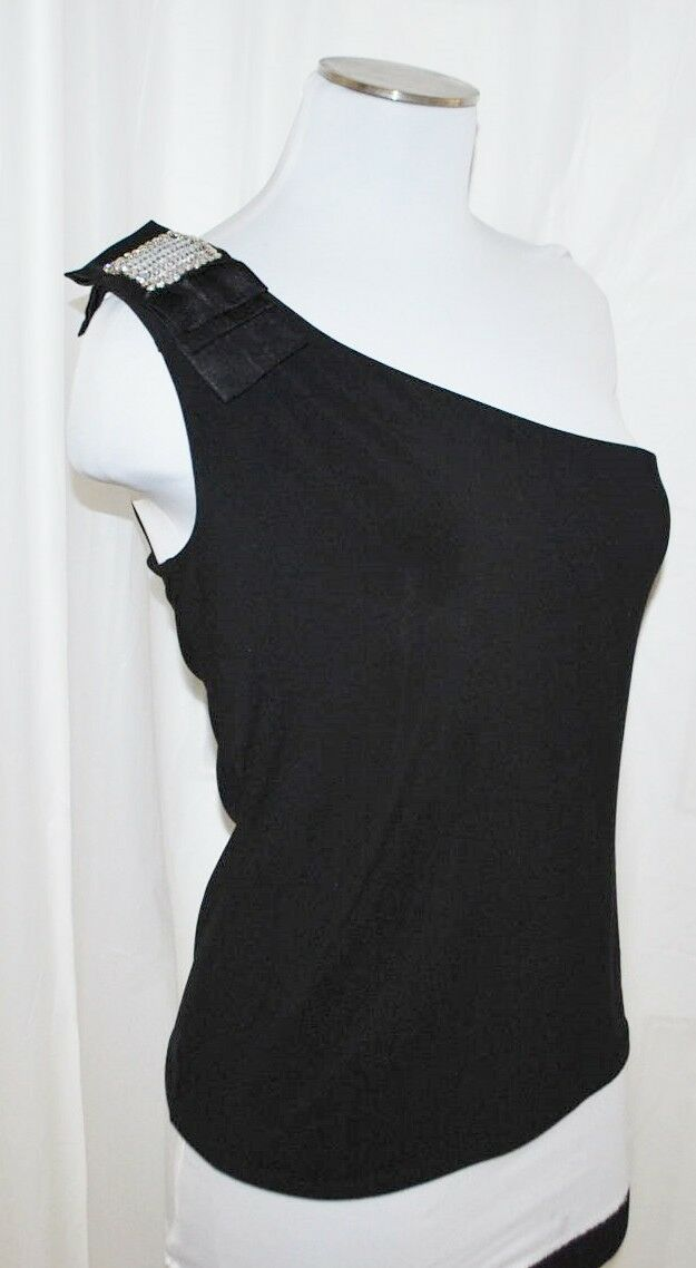WHBM schwarz Rhinestone Bow Accent One Shoulder Slinky Formal Cocktail Blouse S
