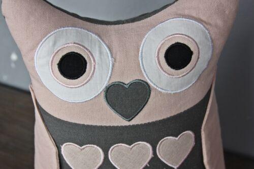 Türstopper Eule Tiermotiv rosa schwarz Kissen Herz Doorstop Füllung Deko 36x27cm