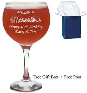 Personalised Gin Glass Balloon Present Birthday Wedding Wine 18th 21st 30th 40th
