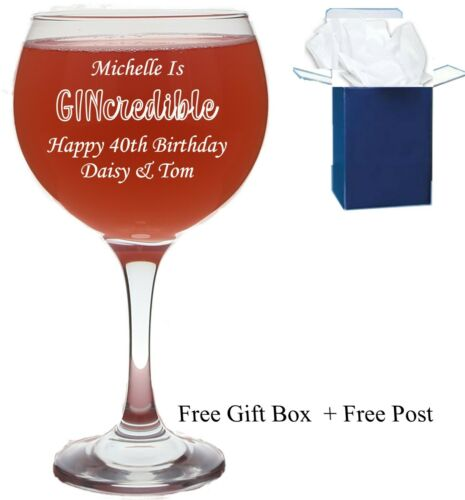 Birthday Gifts 30th Personalised Engraved Gin Balloon Glass Pink Gin 50 40th