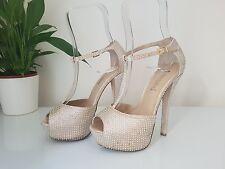 Women's Steve Madden Sparkly Diamanté Strappy Peep Toe Heel Shoes, Size 6 (39)
