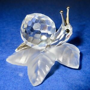 Swarovski-Snail-Silver-Tentacles-Vintage-Faceted-Silver-Crystal-Figurine-Retired