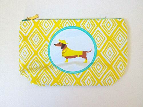 NEW Dachshund weiner dog yellow diamonds zip pouch makeup purse clutch wallet