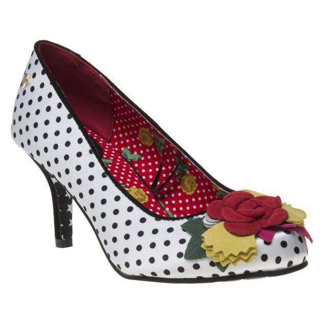 Joe Schuhes Brauns Couture Meryl Polka Dot Satin Schuhes Joe With Corsage Größe 7 b909de