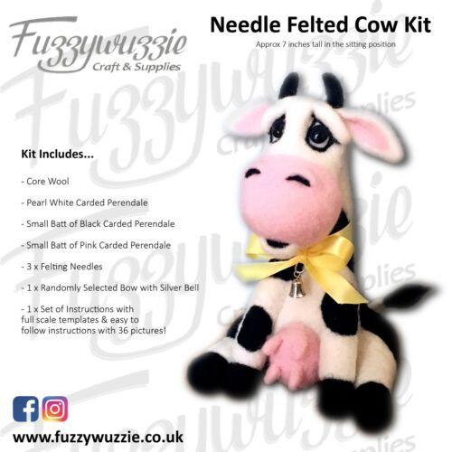 Needle Felting Kit Cow with Instructions wool felting needles