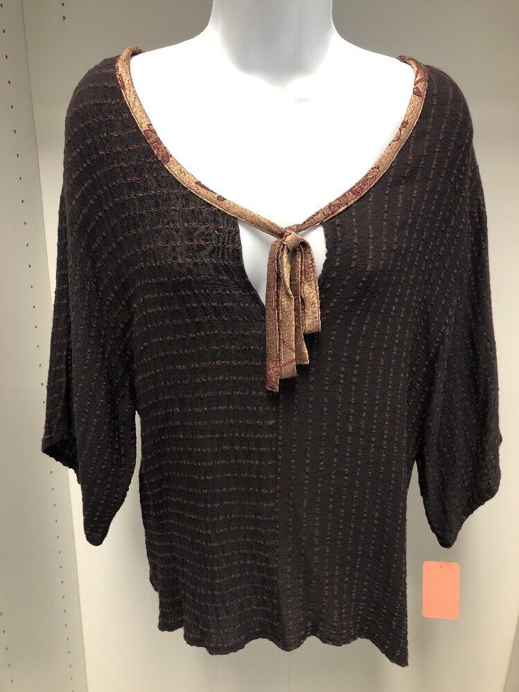 damen Jessica Texturot braun Striped Short Sleeve Top Shirt With Tie At Neck.NWT