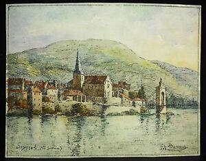 Charles Pierre Bernard (1882-1961) Vue De Seyssel Haute-savoie Aquarelle