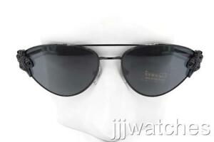 31175710ef2 New Versace Cat Eye Black Metal Sunglasses Gray Lens VE2195B 100987 ...