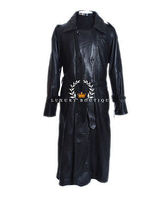 Overcoat Men's New Long Smart Casual Black Real Soft Lambskin Leather Long coat