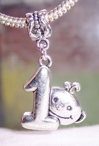 Baby/'s 1st Birthday Party Gift Number One Dangle Charm for European Bracelets
