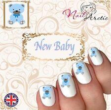 New Baby Boy Bear Baby Shower Nail Art Sticker Water Decals Transfer Stickers