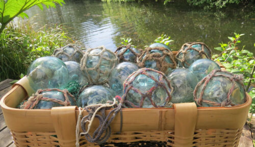 "Japanese Glass Fishing FLOATS 3-3.5/"" Mixed Lot 30 Netted//Plain Nautical BULK"