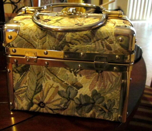 VTG Borsa Bella Train Case Box Purse Green Floral Tapestry Fabric Made In Italy